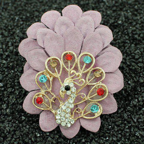 Hot Faux Leather Filigree Peacock Brooch LIGHT PINK