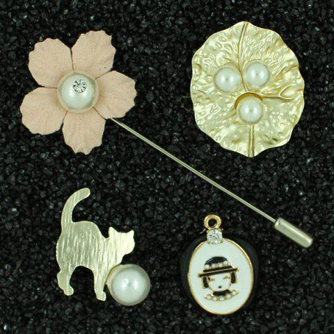 New Faux Pearl Little Girl Cat Brooch Pin Set LIGHT PINK