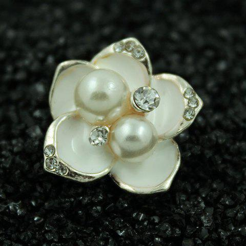 Online Faux Pearl Flower Embossed Bear Brooch Set - SILVER  Mobile