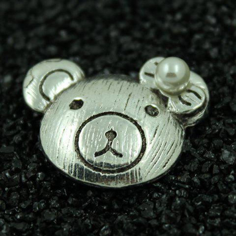 Buy Faux Pearl Flower Embossed Bear Brooch Set - SILVER  Mobile