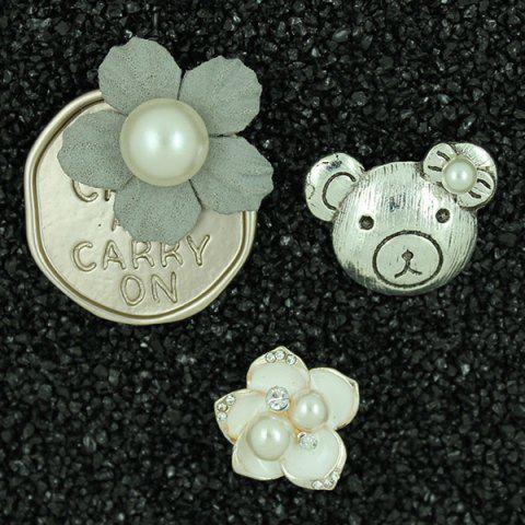 Trendy Faux Pearl Flower Embossed Bear Brooch Set - SILVER  Mobile
