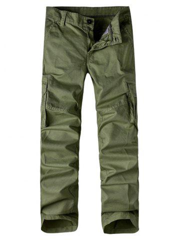 Fashion Straight Leg Multi-Pocket Zipper Fly Cargo Pants ARMY GREEN 40
