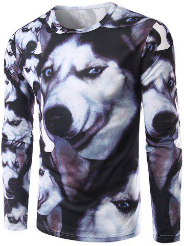 Chic 3D Animal Print Round Neck Long Sleeve T-Shirt COLORMIX 2XL