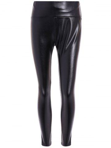Hot High Waist PU Leather Fleece Leggings