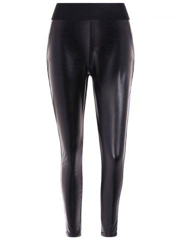Trendy Elastic Waist PU Leather Fleece Leggings