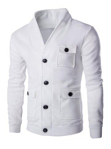 Shop Flap Patch Pocket Long Sleeve Button Up Jacket WHITE 2XL