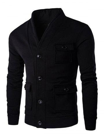 Cheap Flap Patch Pocket Long Sleeve Button Up Jacket BLACK M