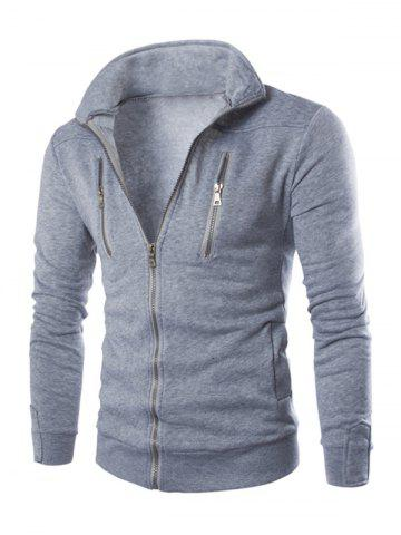 Sale Stand Collar Long Sleeve Zippered Jacket