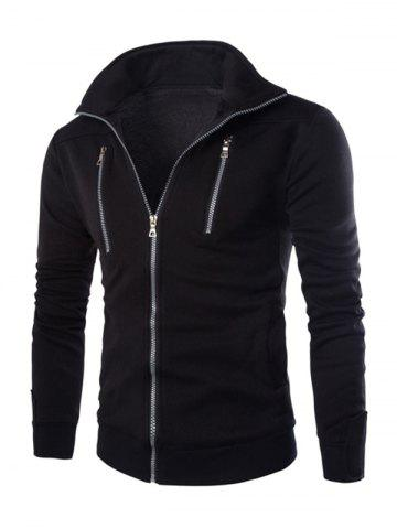 Unique Stand Collar Long Sleeve Zippered Jacket BLACK 2XL