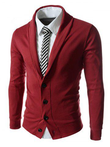 Online Button Up Shawl Collar Long Sleeve Jacket