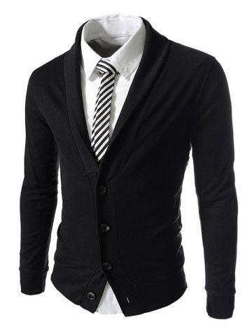 Online Button Up Shawl Collar Long Sleeve Jacket BLACK M