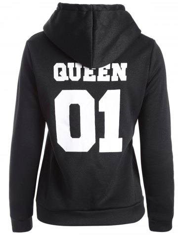 Fancy Flocking Letter Print Hoodie