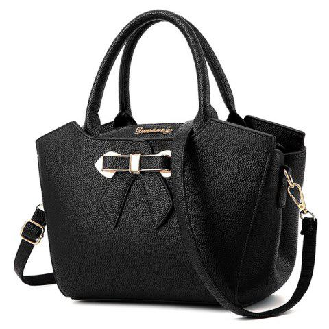 Best Metal Bow Textured Leather Tote Bag