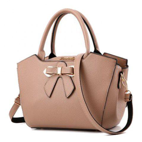 Latest Metal Bow Textured Leather Tote Bag