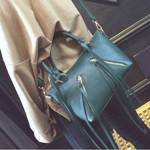 Shop PU Leather Zippers Metal Tote Bag