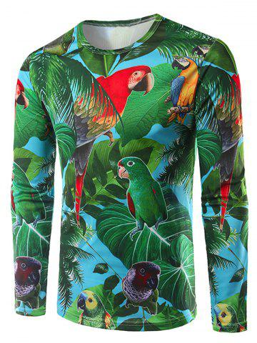 Fancy 3D Leaves and Parrot Print Crew Neck Long Sleeve T-Shirt