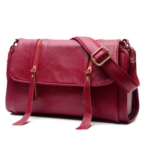 Chic PU Leather Double Zipper Magnetic Closure Crossbody Bag WINE RED