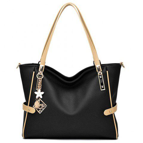 Shop Colour Splicing Textured Leather Metal Shoulder Bag