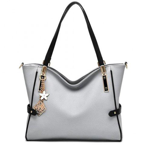 Discount Colour Splicing Textured Leather Metal Shoulder Bag LIGHT GRAY
