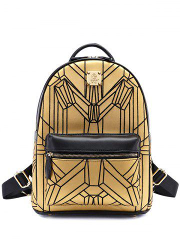 Outfits PU Leather Embroidery Geometric Pattern Backpack