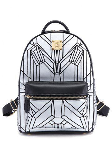 New PU Leather Embroidery Geometric Pattern Backpack