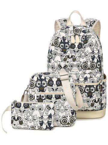 Discount Color Block Owl Pattern Canvas Backpack