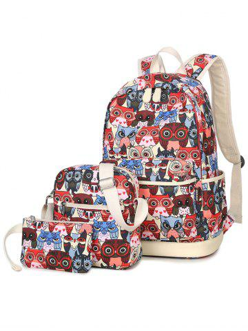 New Color Block Owl Pattern Canvas Backpack - RED  Mobile