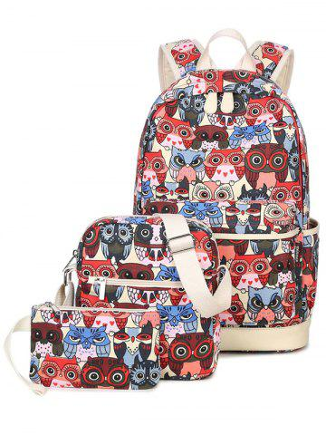 Affordable Color Block Owl Pattern Canvas Backpack - RED  Mobile