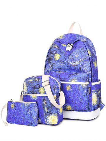 New Color Splicing Print Zippers Backpack