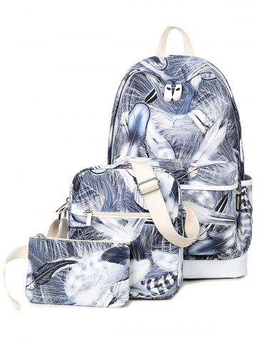 Trendy Zippers Feather Print Color Block Backpack