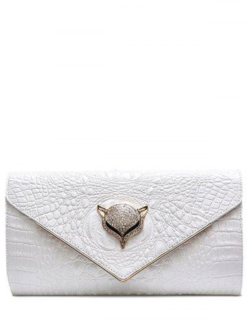 Discount PU Leather Rhinestones Embossing Evening Bag - WHITE  Mobile