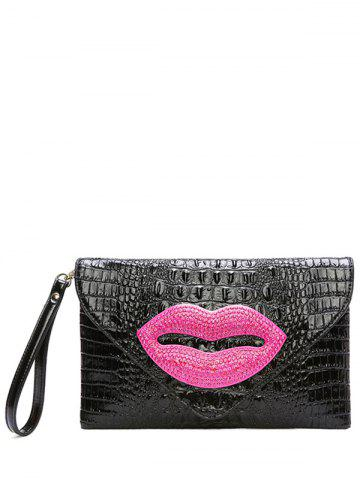 Affordable Magnetic Closure Lip Pattern Embossing Clutch Bag