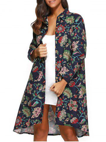 Shop Floral Print Asymmetrical Shirt Dress