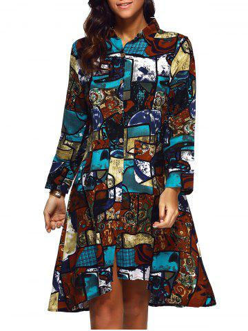 New Buttoned Abstract Print Shirt Dress