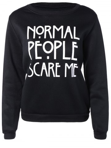 Outfit Letters Print Pullover Sweatshirt BLACK L