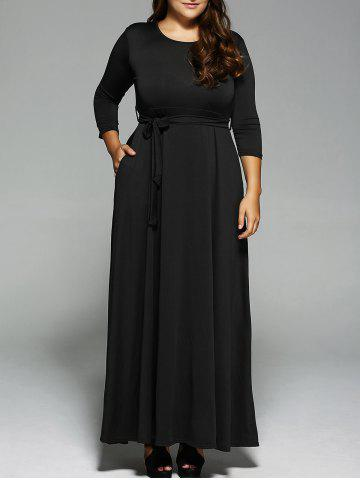 Discount Plus Size Long Sleeve Maxi Formal A Line Evening Swing Dress BLACK 3XL
