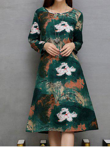 Outfits Lotus Print Ink-Painting Loose A-Line Dress