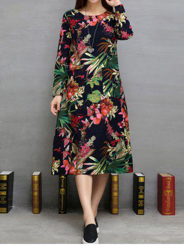 Outfits Loose Flowers Print Double Pockets A-Line Dress