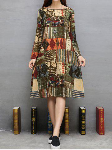 Outfit Tribal Print Twin Pockets A-Line Dress