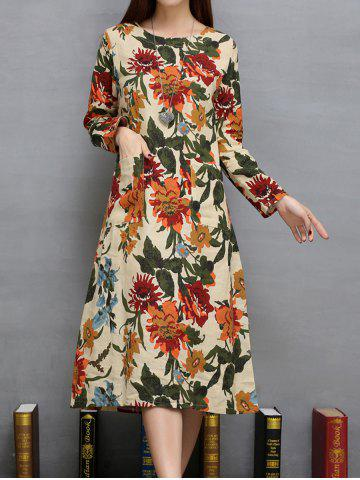 Online Floral Print Twin Pockets A-Line Dress