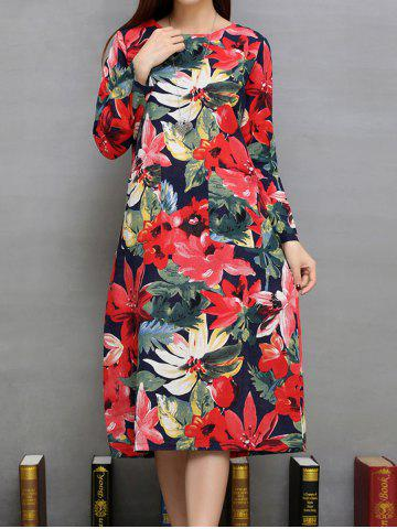 Best Flower Print Pockets Design A-Line Dress