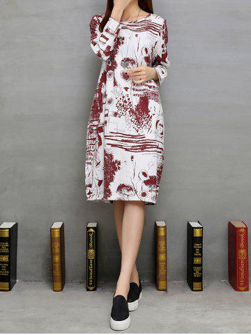 Fancy Loose Ink-Painting Shift Dress
