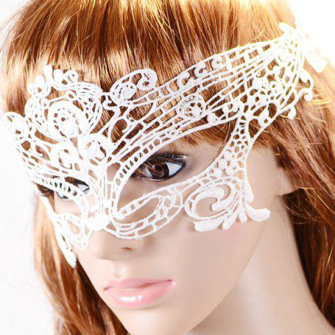 Unique Gothic Style Hollowed Lace Party Mask - WHITE  Mobile