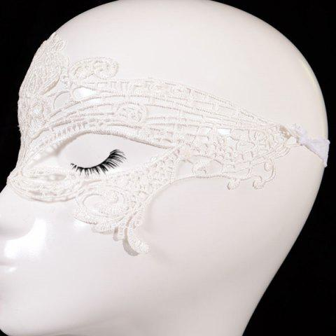 Cheap Gothic Style Hollowed Lace Party Mask - WHITE  Mobile