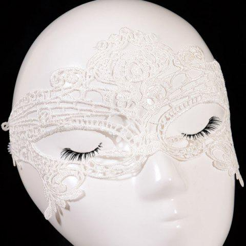 Best Gothic Style Hollowed Lace Party Mask - WHITE  Mobile