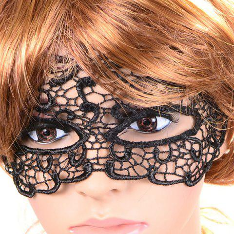 Sale Gothic Style Hollow Out Lace Party Mask - BLACK  Mobile