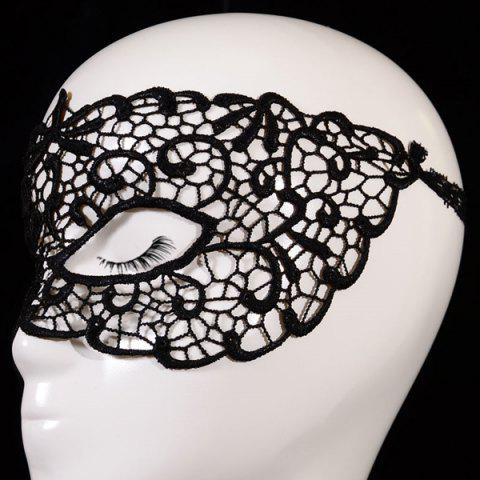 Cheap Gothic Style Hollow Out Lace Party Mask - BLACK  Mobile