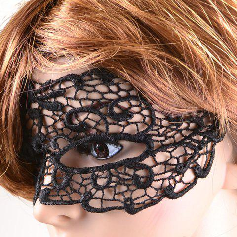 Chic Gothic Style Hollow Out Lace Party Mask - BLACK  Mobile