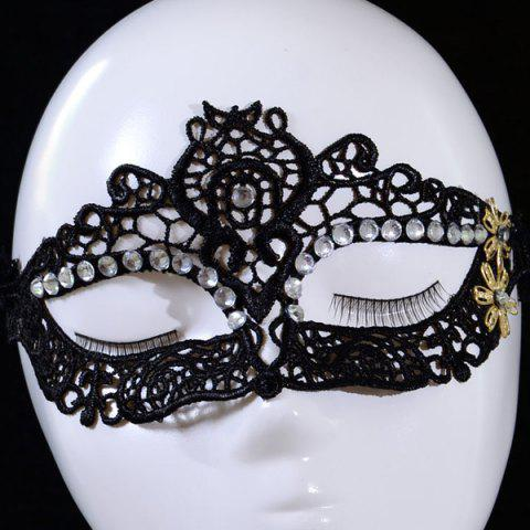 Sale Gothic Style Rhinestone Flower Lace Party Mask - BLACK  Mobile