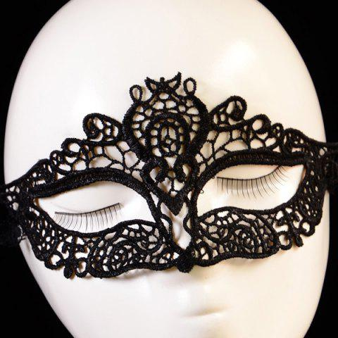 Chic Hollowed Lace Party Mask BLACK